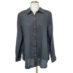 J Jill Button Front Shirt Long Sleeves 100% Linen